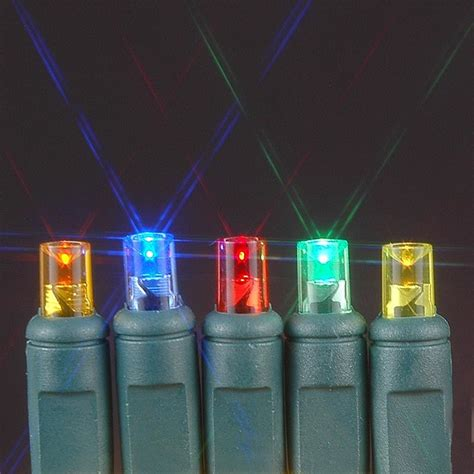 20 Light Battery Operated Multi Colored On Green Wire Battery Powered Lights