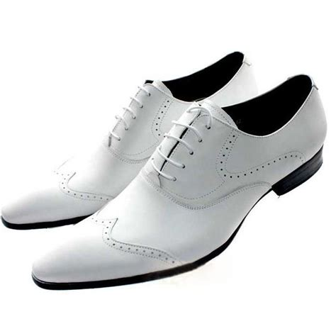 handmade oxford white brogue slip on wingtip boots
