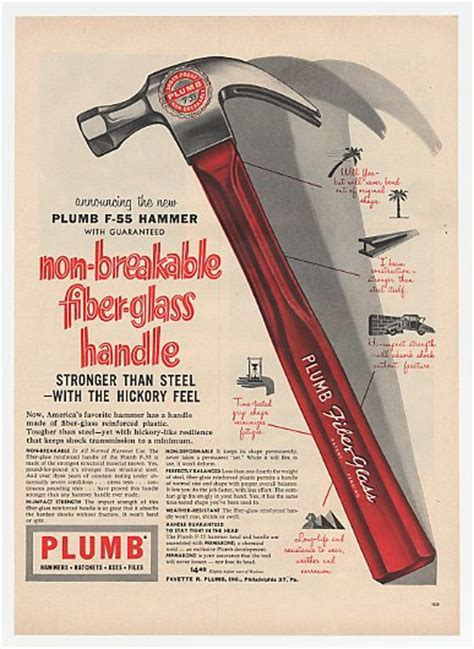 adspast 1955 plumb f 55 fiber glass handle hammer