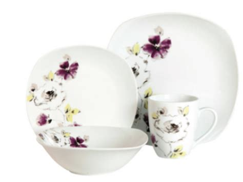 gibson purple bloom pc dinnerware set sales