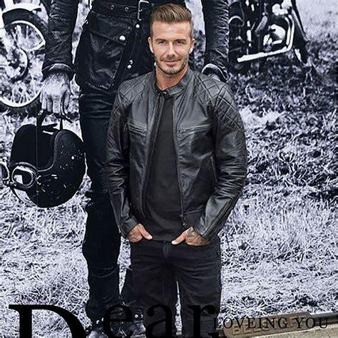 Beckham Vovolia 9810 1 Leather aliexpress buy genuine fashion david beckham leather jacket black stand collar slim