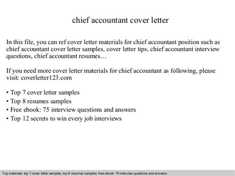 Chief Accountant Cover Letter by Chief Accountant Cover Letter