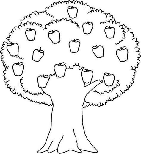 Apple Tree Awesome Apple Tree Coloring Page Coloring Simple Tree Coloring Pages