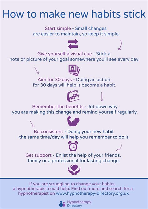 How To Create A New - how to make habits stick infographic hypnotherapy