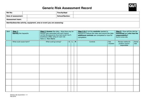 manufacturing risk assessment template gallery templates