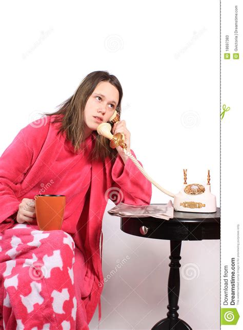 teen talking   fashioned phone stock image image  woman fashioned