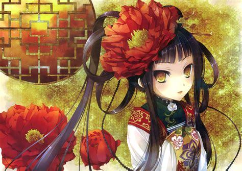anime chinese girl wallpaper original black hair chinese dress flowers katagiri hinata