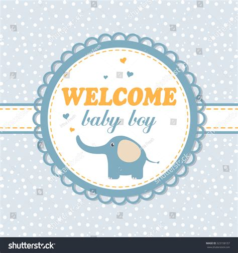 baby boy card template delicate baby arrival card invitation boy stock vector