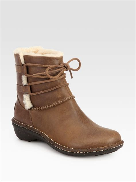 ugg caspia leather shearling laceup ankle boots in brown