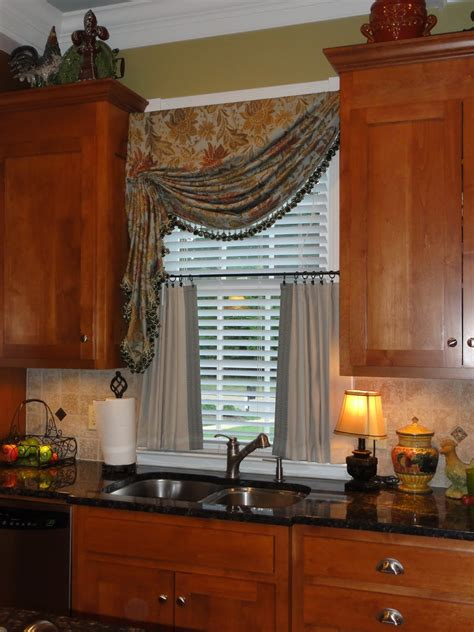 curtains kitchen window ideas splendid brown wooden kitchen cabinet also half curtain