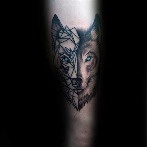 Wolf Tattoo Half Geometric | 90 geometric wolf tattoo designs for men manly ink ideas