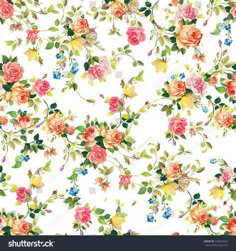 flower pattern on white background classic seamless vintage flower pattern on stock vector