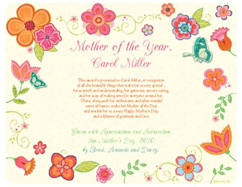 Mother of the Year Award Certificate   Mother's Day