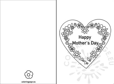 mothers day card templates to color free happy s day card coloring page