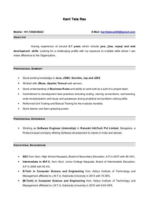 Sle Resume For Java Developer 1 Year Experience Resume Format For Java Developer 100 Images Asq Certified Quality Engineer