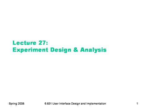 experiment design lecture notes 6 831 l27 experiment design analysis