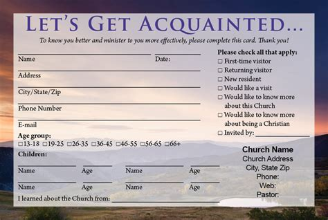 Church Information Card Template by Visitor Cards Printing Calvary Publishing