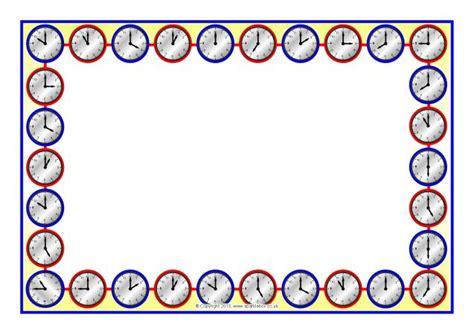 printable clock borders clock faces a4 page borders o clock times sb9633