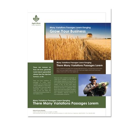 agriculture brochure templates farming agriculture flyer template