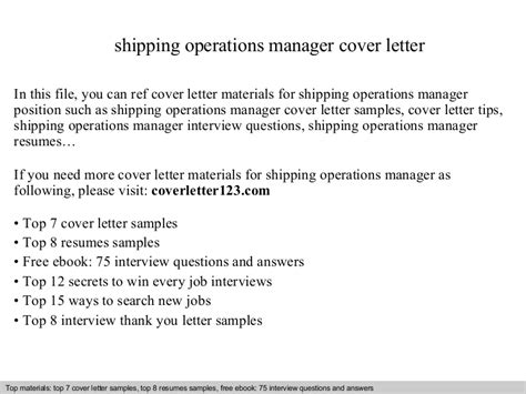 cover letter application shipping operations manager cover letter 1159