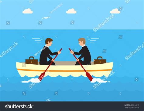 on the same boat vector two businessmen same boat rowing stock vector