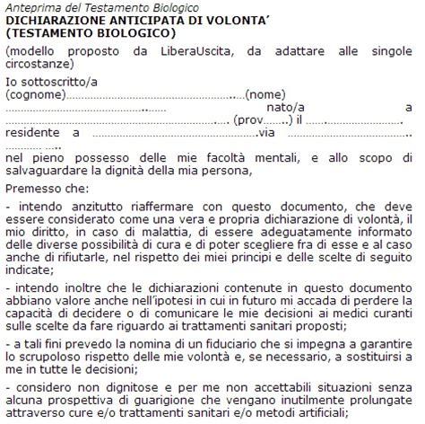 modello testamento qual 232 il modulo per testamento biologico lettera43 it