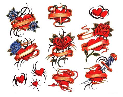 traditional heart tattoos flash set best tattoo designs