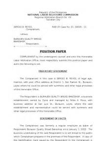 Mun Position Paper Template by Nlrc Position Paper Reyes Wage