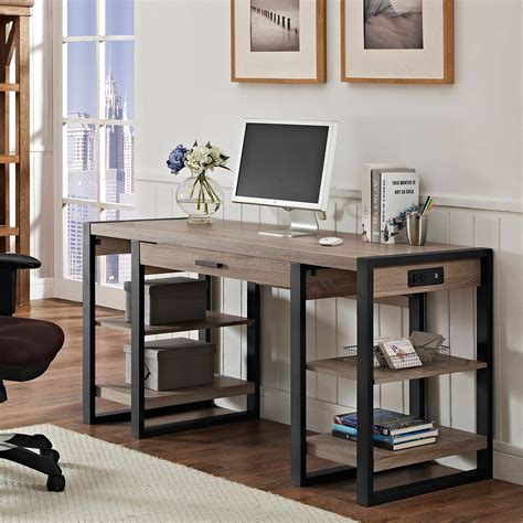 walker edison urban blend computer desk desks and kit 60 quot urban blend storage desk