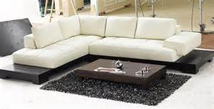 small modern sectional white color with low profile table