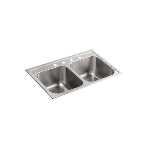 kohler stainless steel kitchen sinks kohler toccata drop in stainless steel 33 in 4 hole
