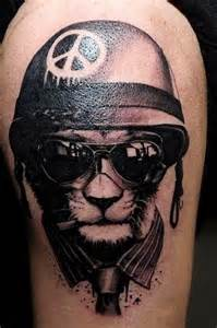 military dog soldier with peace hat tattoo design