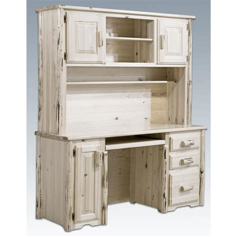Furniture White Distressed Wood Office Desk With Hutch White Wood Desks