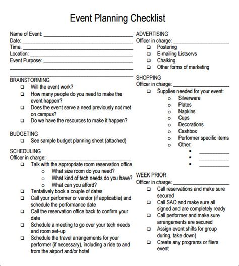 free printable party planning list event planning checklist 7 free download for pdf