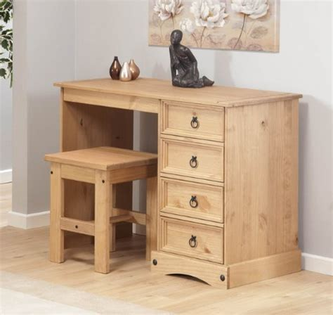 Pine Vanity Table Dressing Table With Stool Aztec Light Corona Solid Pine Dresser 4 Drawer Vanity Johanne Heenannn