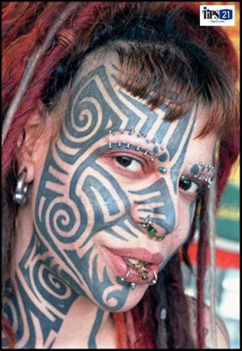 extreme detail tattoo girl face amazing extreme tribal tattoo extreme tribal