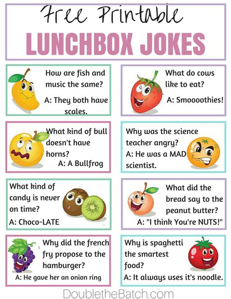 printable jokes simple ways to make lunch fun at school double the batch