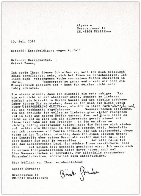 Brief Anfrage Reisebüro G 252 Nter Struchen Brief An Alpamare