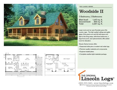 log home floorplan woodside ii the original lincoln logs