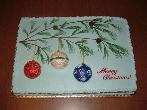 sheet cakes christmas decorated pictures ornaments and pine branch cakecentral