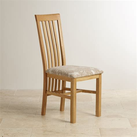 slat back solid oak dining chair patterned beige