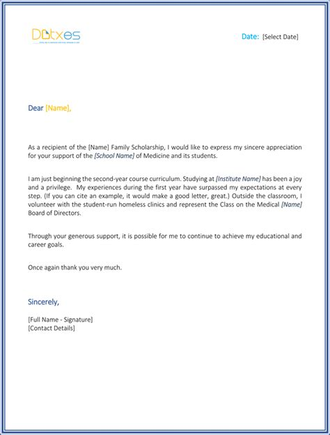 Scholarship Thank You Letter Nursing Scholarship Thank You Letter 7 Sle Templates You Should Send