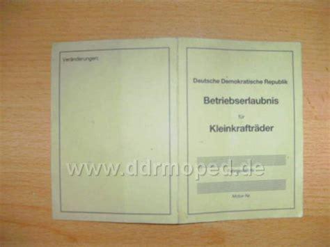 Mofa Prüfbescheinigung Verloren by Ddr Registrierschein Oder Betriebserlaubnis Ddrmoped De