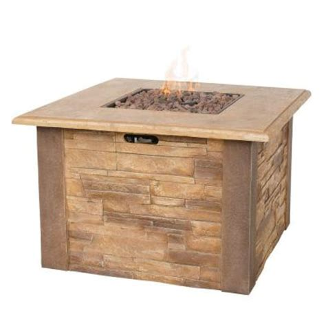 Home Depot Firepits Uniflame Faux 17 In X 17 In Stacked Propane Gas Pit Gad1338sp The Home Depot