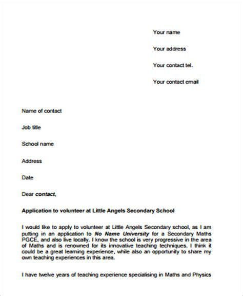 how to write a cover letter for volunteering 9 application letter for volunteer free sle