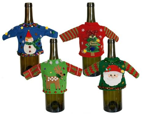 aytai 3pcs ugly christmas sweater wine bottle cover handmade wine bottle sweater for christmas decorations ugly christmas sweat top 5 ways to wrap wine imagery estate winery
