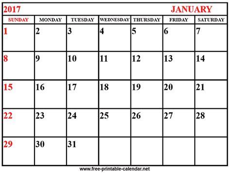 Print Free Calendar 2017 Calendar January Print Calendars From