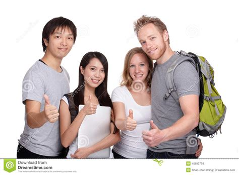 hipster male student showing thumb group stock photo happy student and friends group thumb up stock photo