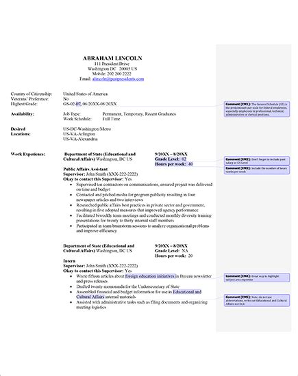 federal resume cv template resume exles