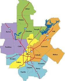 Atlanta County Map atlanta metro counties amp cities map knowatlanta